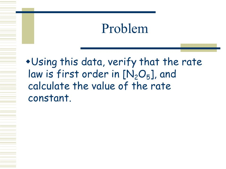 Problem Using this data, verify that the rate law is first order in [N2O5], and calculate the value of the rate constant.